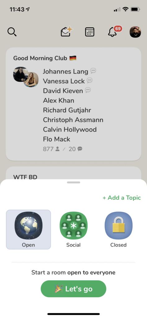 Raum erstellen App Clubhouse